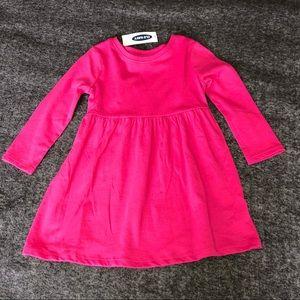 Girls long sleeve tunic dress magenta bright pink